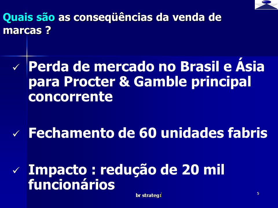 br strateg i 5 Perda de mercado no Brasil e Ásia para Procter & Gamble principal concorrente Fechamento de 60 unidades fabris Impacto : redução de 20 mil funcionários Quais são as conseqüências da venda de marcas ?