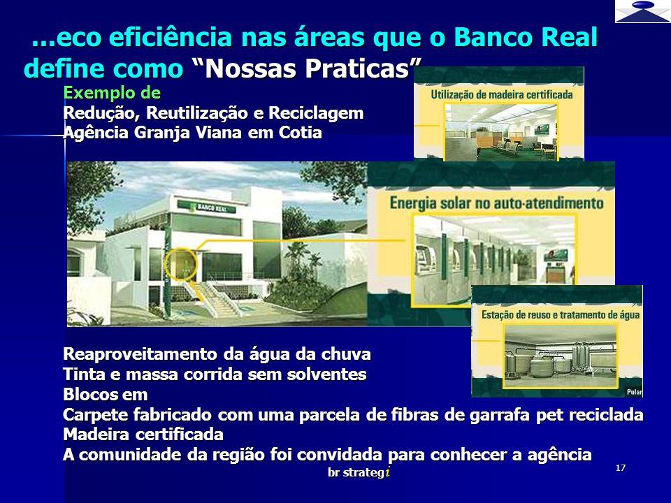 br strateg i 17...eco eficiência nas áreas que o Banco Real define como Nossas Praticas...eco eficiência nas áreas que o Banco Real define como Nossas