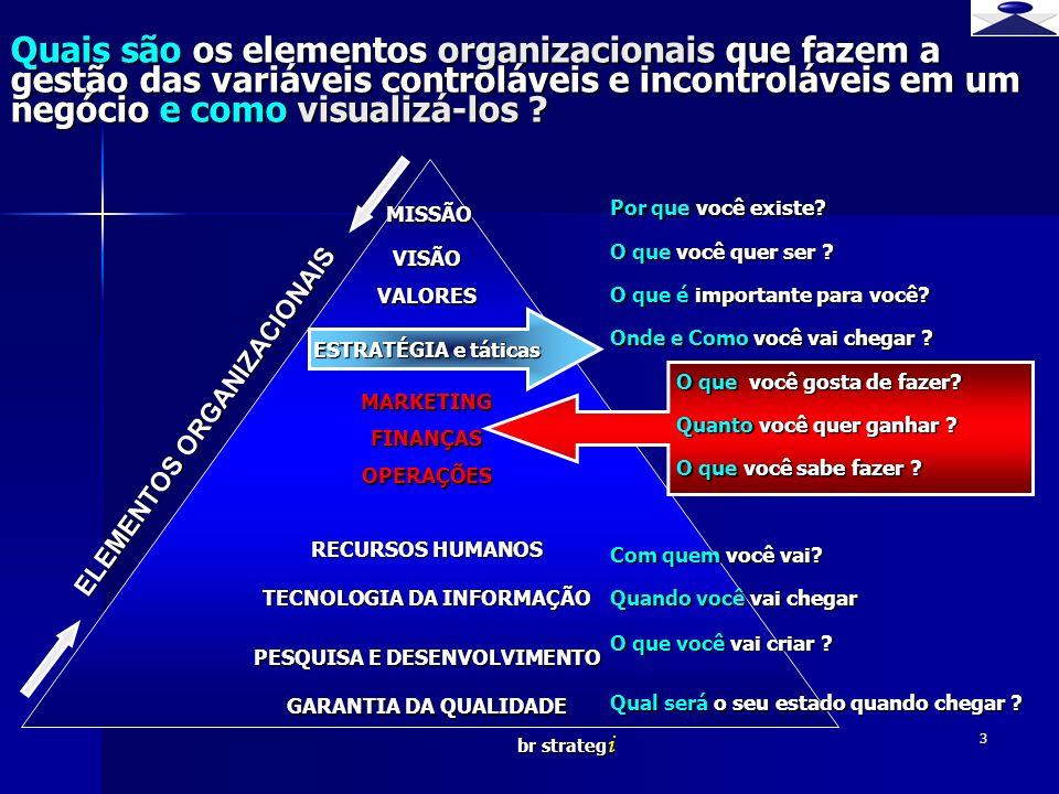 br strateg i 3 Quais são os elementos organizacionais que fazem a gestão das variáveis controláveis e incontroláveis em um negócio e como visualizá-lo