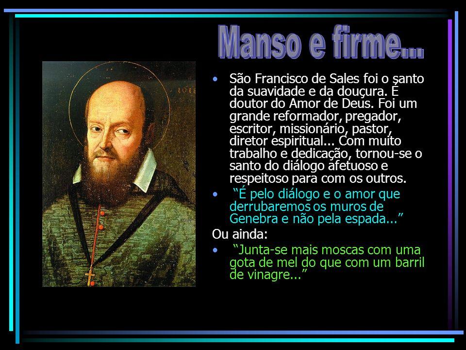 São Francisco de Sales foi o santo da suavidade e da douçura. É doutor do Amor de Deus. Foi um grande reformador, pregador, escritor, missionário, pas