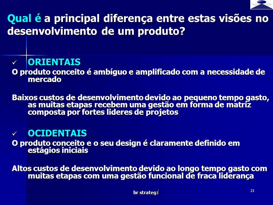br strateg i 21 Qual é a principal diferença entre estas visões no desenvolvimento de um produto? ORIENTAIS ORIENTAIS O produto conceito é ambíguo e a