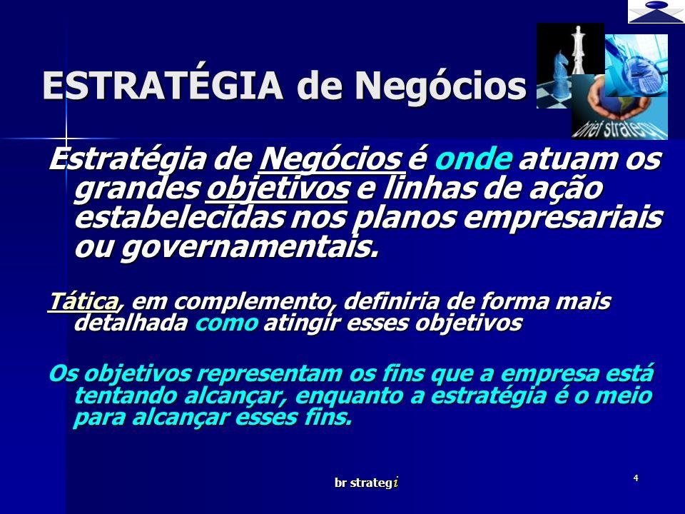 br strateg i 4 ESTRATÉGIA de Negócios Estratégia de Negócios é onde atuam os grandes objetivos e linhas de ação estabelecidas nos planos empresariais