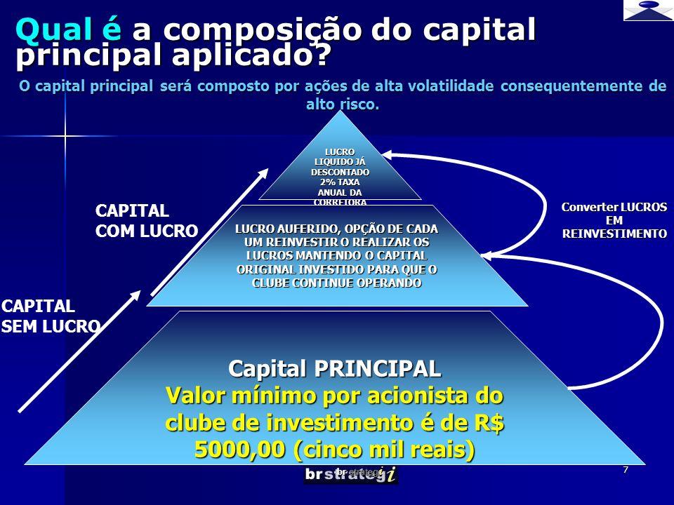 br strateg i 7 Qual é a composição do capital principal aplicado? LUCRO LIQUIDO JÁ DESCONTADO 2% TAXA ANUAL DA CORRETORA LUCRO AUFERIDO, OPÇÃO DE CADA