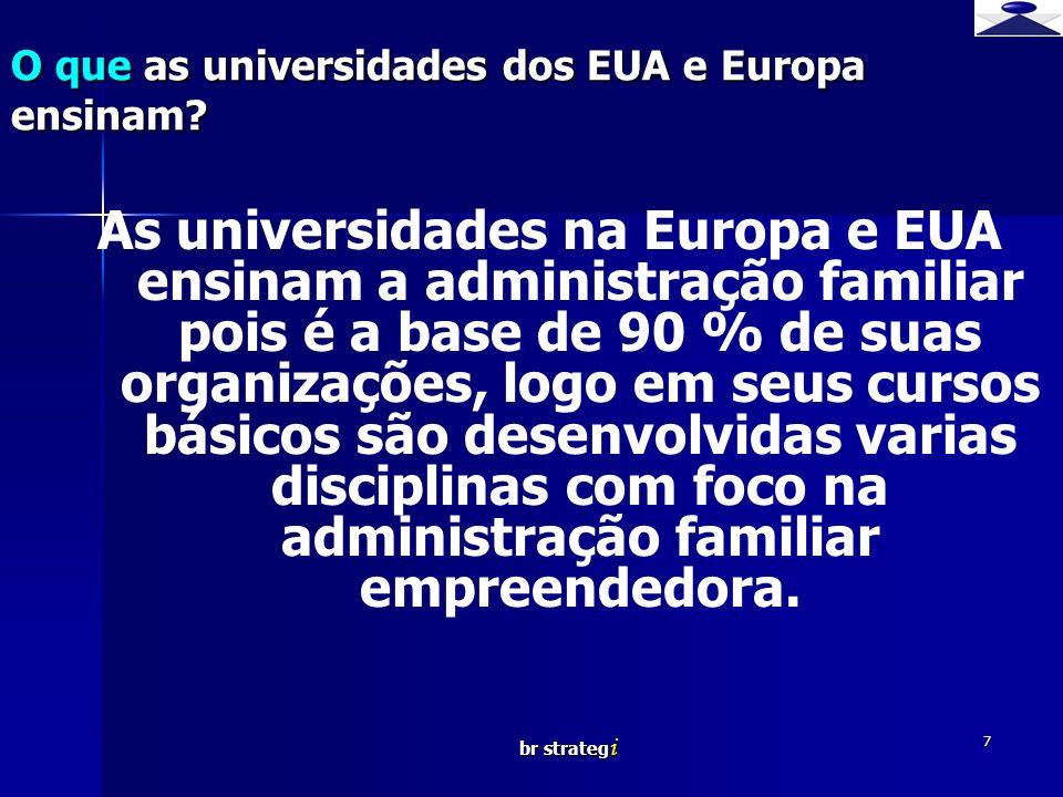 br strateg i 7 As universidades na Europa e EUA ensinam a administração familiar pois é a base de 90 % de suas organizações, logo em seus cursos básic