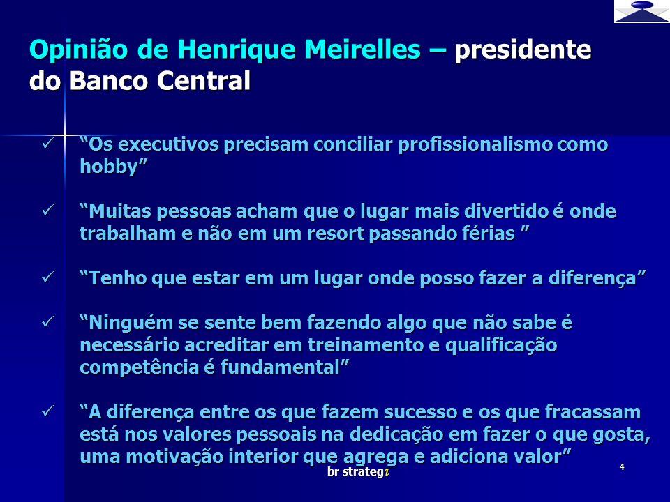br strateg i 4 Opinião de Henrique Meirelles – presidente do Banco Central Os executivos precisam conciliar profissionalismo como hobby Os executivos