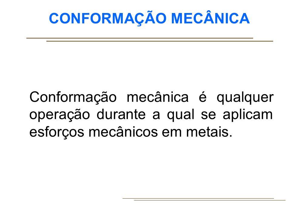 CONFORMAÇÃO MECÂNICA Para a produção de peças de metal, a conformação mecânica inclui um grande número de processos; laminação, forjamento, trefilação, extrusão, estampagem.
