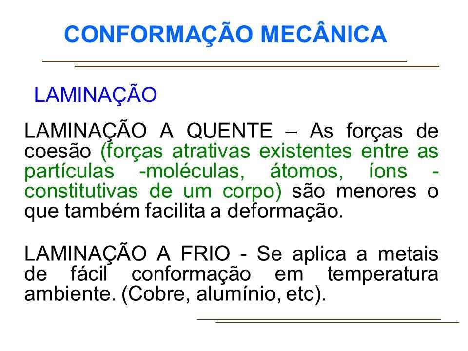 CONFORMAÇÃO MECÂNICA LAMINADOR – Trem de laminação – Os laminadores podem ser montados isolada- mente ou em grupos, formando uma seqüência de vários laminadores em série.