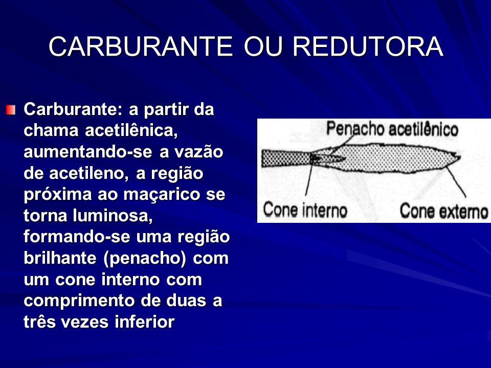 CARBURANTE OU REDUTORA Carburante: a partir da chama acetilênica, aumentando-se a vazão de acetileno, a região próxima ao maçarico se torna luminosa,
