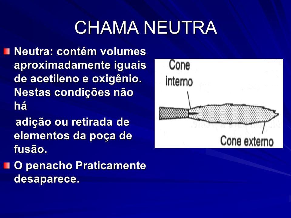CHAMA NEUTRA Neutra: contém volumes aproximadamente iguais de acetileno e oxigênio. Nestas condições não há adição ou retirada de elementos da poça de