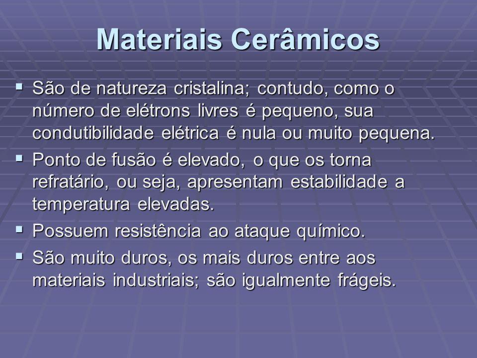 Materiais Cerâmicos São de natureza cristalina; contudo, como o número de elétrons livres é pequeno, sua condutibilidade elétrica é nula ou muito pequ