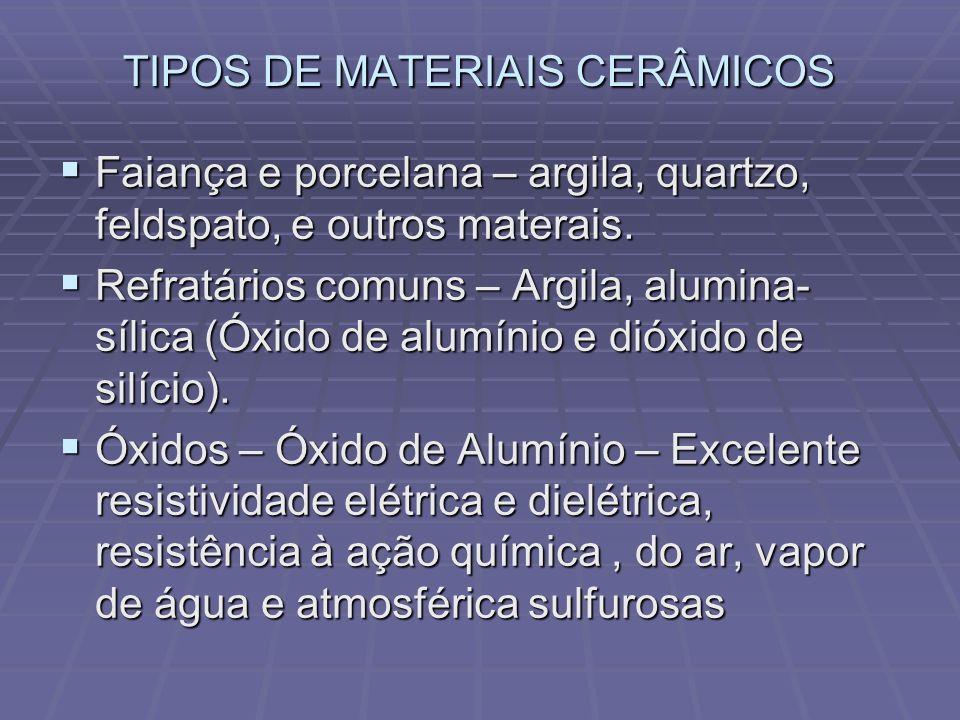 TIPOS DE MATERIAIS CERÂMICOS Faiança e porcelana – argila, quartzo, feldspato, e outros materais. Faiança e porcelana – argila, quartzo, feldspato, e