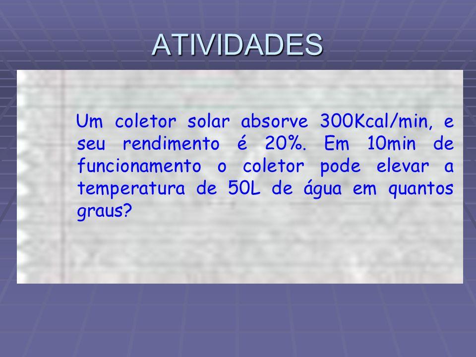 ATIVIDADES Um coletor solar absorve 300Kcal/min, e seu rendimento é 20%. Em 10min de funcionamento o coletor pode elevar a temperatura de 50L de água