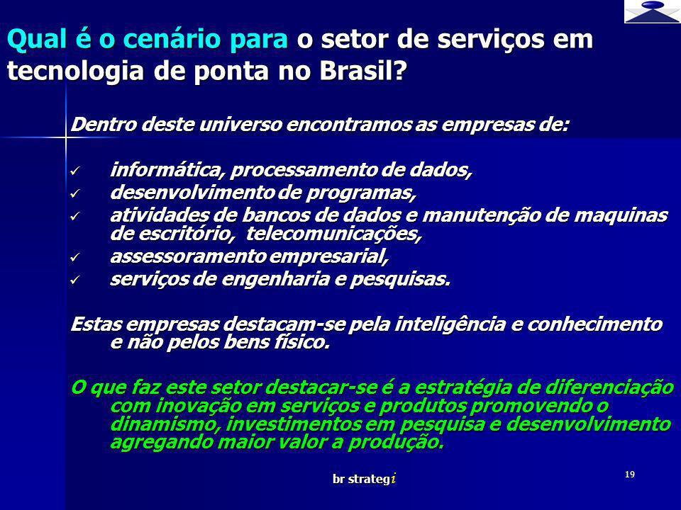 br strateg i 19 Qual é o cenário para o setor de serviços em tecnologia de ponta no Brasil? Dentro deste universo encontramos as empresas de: informát