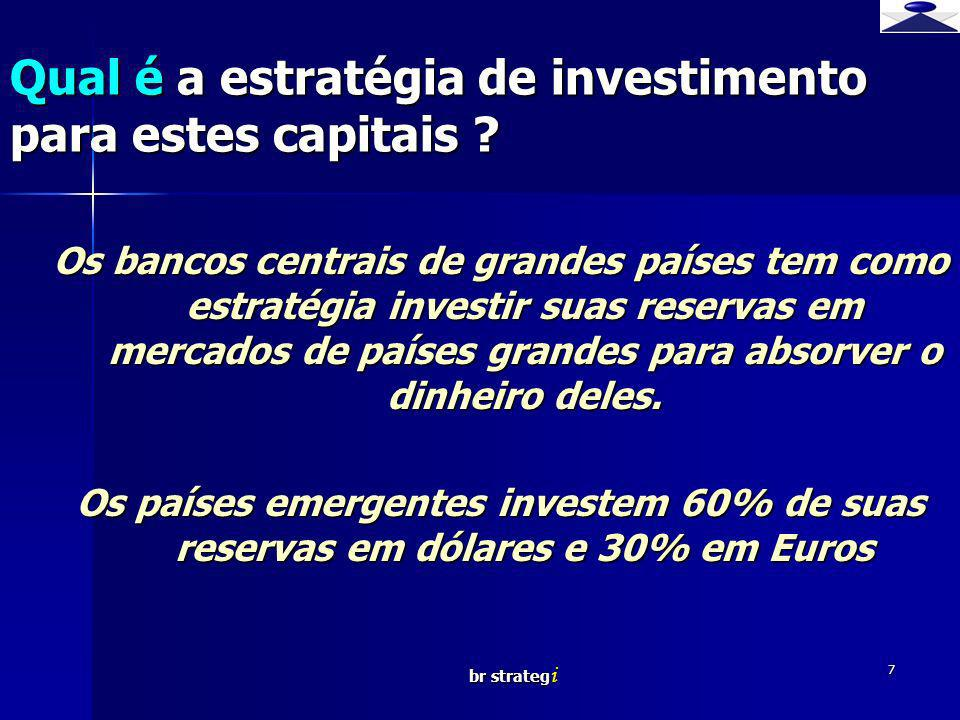 br strateg i 7 Os bancos centrais de grandes países tem como estratégia investir suas reservas em mercados de países grandes para absorver o dinheiro