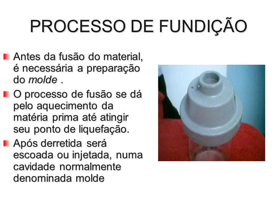 PROCESSO DE FUNDIÇÃO Antes da fusão do material, é necessária a preparação do molde. O processo de fusão se dá pelo aquecimento da matéria prima até a