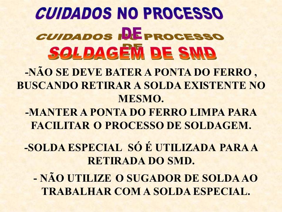 -DEVE SER RETIRADA TODA A SOLDA ESPECIAL DAS TRILHAS ONDE SERÁ COLOCADO OUTRO COMPONENTE SMD.