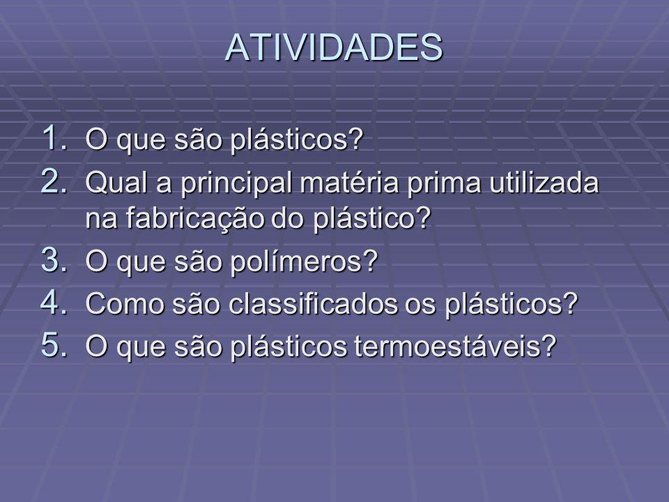 ATIVIDADES 1. O que são plásticos? 2. Qual a principal matéria prima utilizada na fabricação do plástico? 3. O que são polímeros? 4. Como são classifi