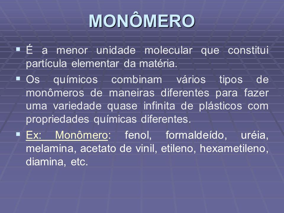 MONÔMERO É a menor unidade molecular que constitui partícula elementar da matéria. Os químicos combinam vários tipos de monômeros de maneiras diferent