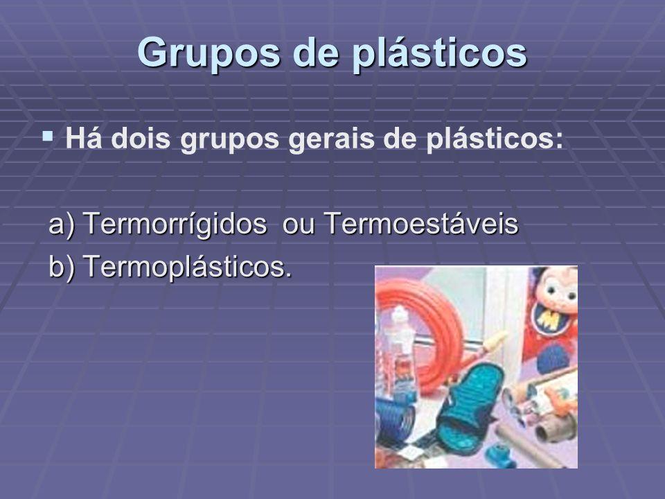 Grupos de plásticos Há dois grupos gerais de plásticos: a) Termorrígidos ou Termoestáveis a) Termorrígidos ou Termoestáveis b) Termoplásticos. b) Term