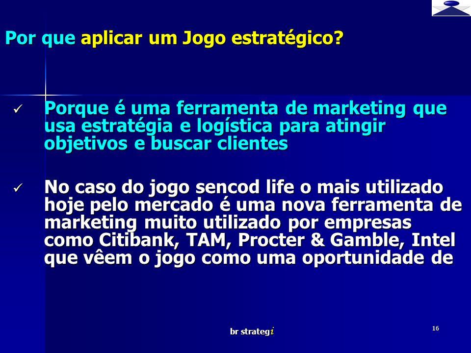 br strateg i 16 Por que aplicar um Jogo estratégico? Porque é uma ferramenta de marketing que usa estratégia e logística para atingir objetivos e busc