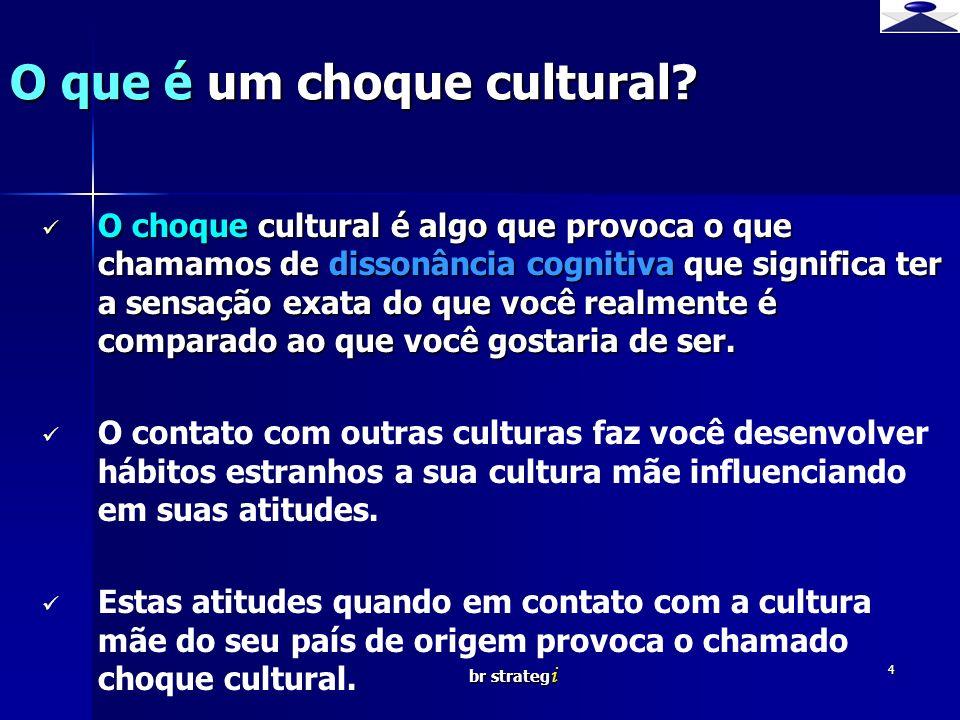 br strateg i 4 O choque cultural é algo que provoca o que chamamos de dissonância cognitiva que significa ter a sensação exata do que você realmente é