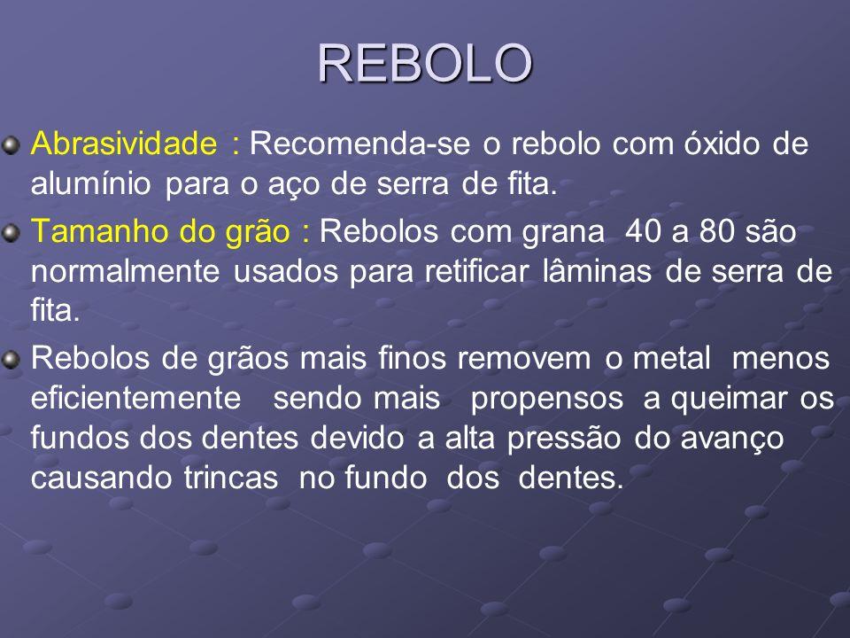 REBOLO Abrasividade : Recomenda-se o rebolo com óxido de alumínio para o aço de serra de fita. Tamanho do grão : Rebolos com grana 40 a 80 são normalm