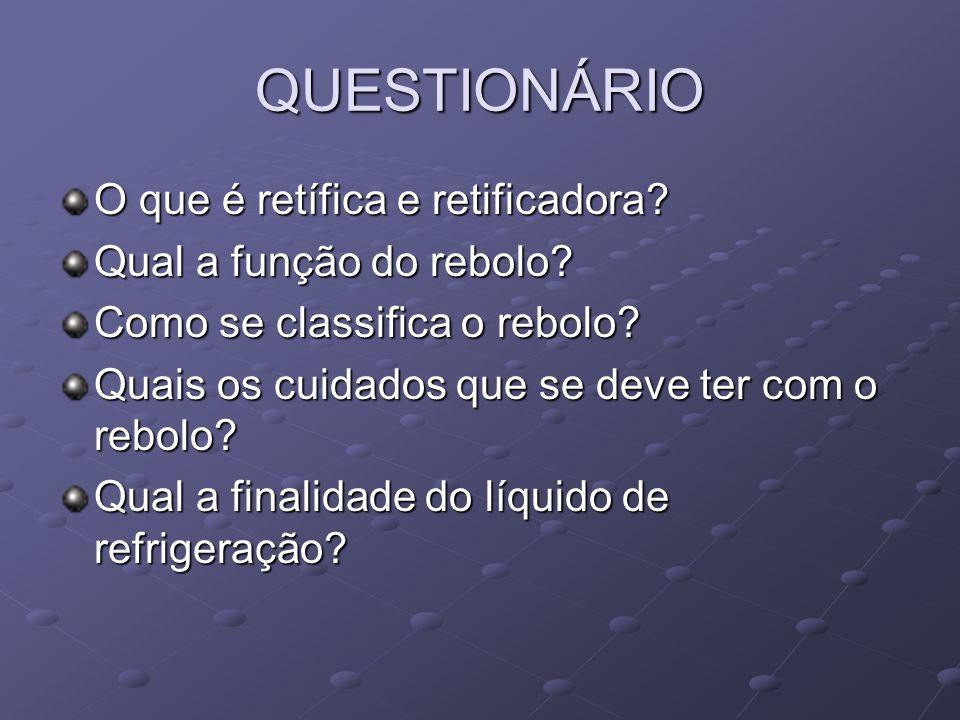 QUESTIONÁRIO O que é retífica e retificadora? Qual a função do rebolo? Como se classifica o rebolo? Quais os cuidados que se deve ter com o rebolo? Qu