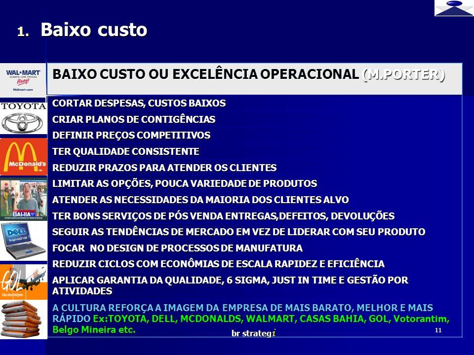 br strateg i 11 BAIXO CUSTO OU EXCELÊNCIA OPERACIONAL (M.PORTER) CORTAR DESPESAS, CUSTOS BAIXOS CRIAR PLANOS DE CONTIGÊNCIAS DEFINIR PREÇOS COMPETITIV