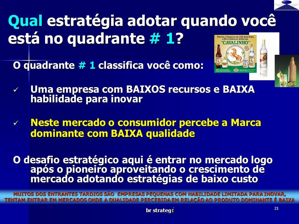 br strateg i 21 O quadrante # 1 classifica você como: Uma empresa com BAIXOS recursos e BAIXA habilidade para inovar Uma empresa com BAIXOS recursos e