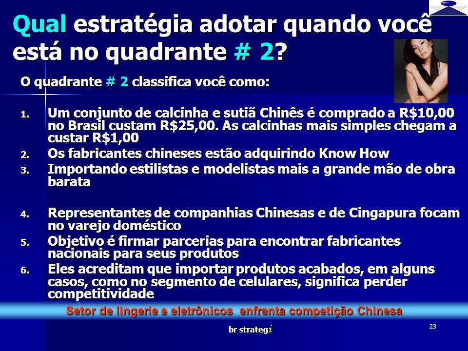br strateg i 23 O quadrante # 2 classifica você como: 1. Um conjunto de calcinha e sutiã Chinês é comprado a R$10,00 no Brasil custam R$25,00. As calc