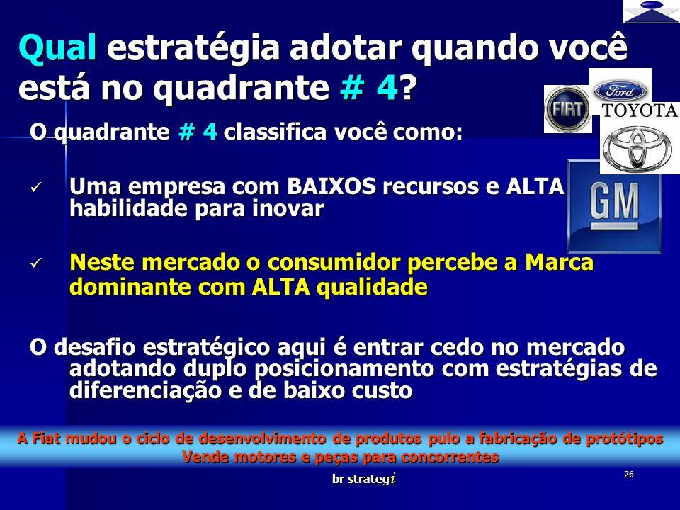 br strateg i 26 O quadrante # 4 classifica você como: Uma empresa com BAIXOS recursos e ALTA habilidade para inovar Uma empresa com BAIXOS recursos e