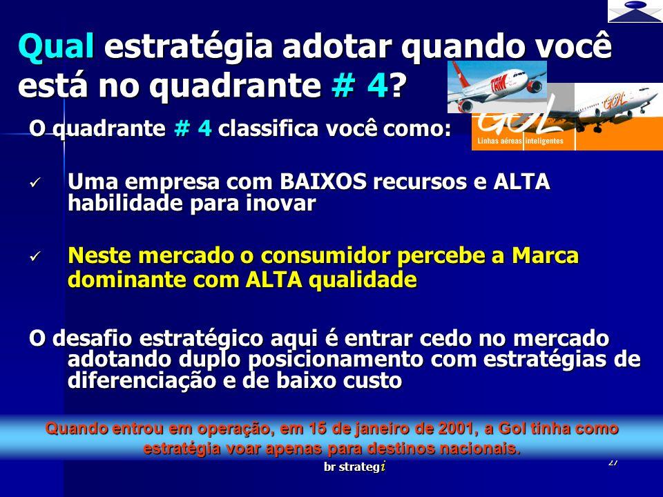 br strateg i 27 O quadrante # 4 classifica você como: Uma empresa com BAIXOS recursos e ALTA habilidade para inovar Uma empresa com BAIXOS recursos e