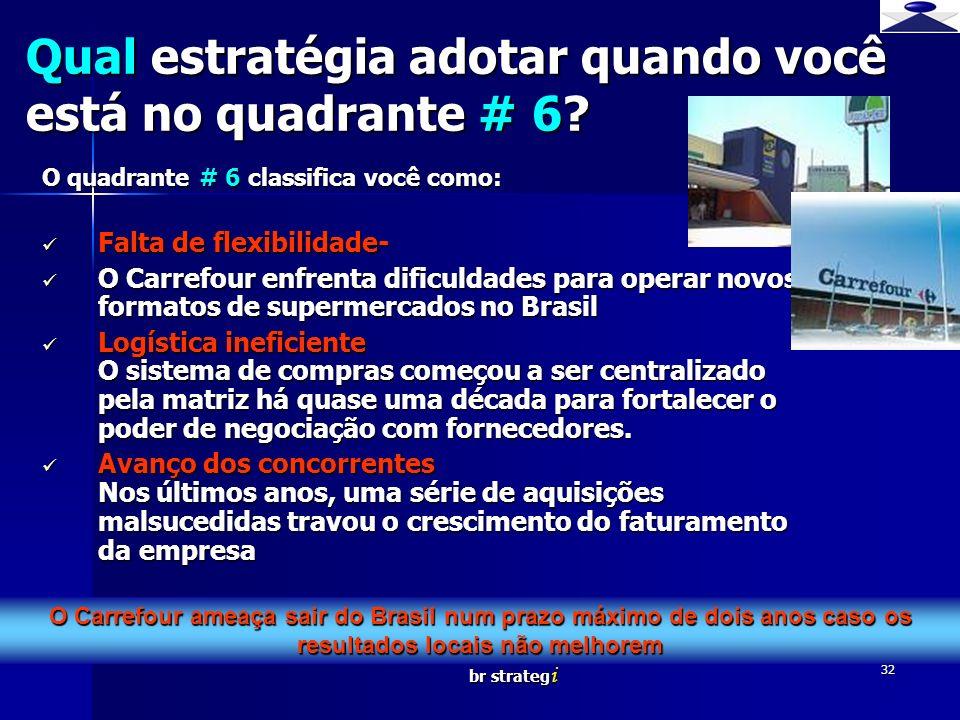 br strateg i 32 O quadrante # 6 classifica você como: Falta de flexibilidade- Falta de flexibilidade- O Carrefour enfrenta dificuldades para operar no