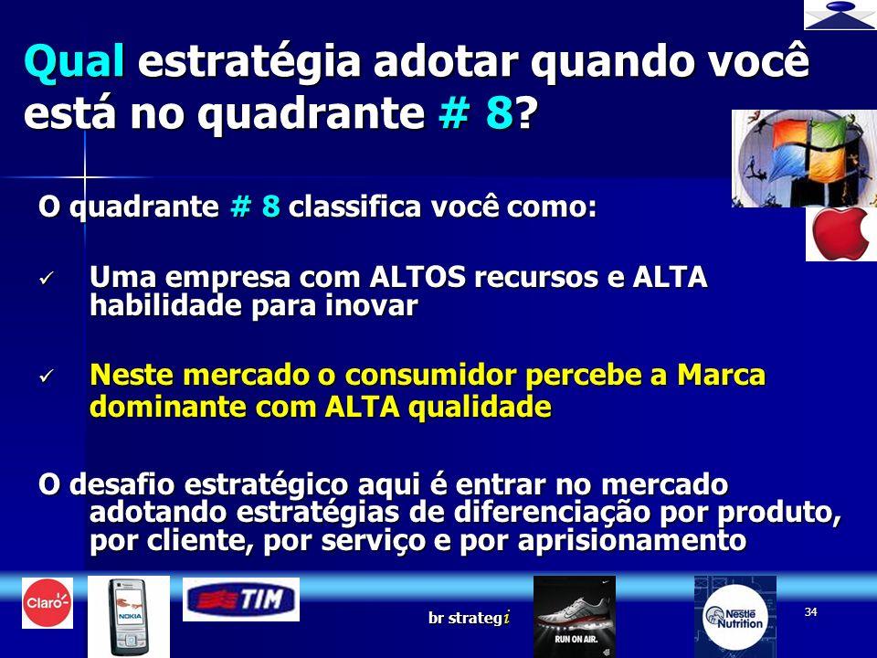 br strateg i 34 O quadrante # 8 classifica você como: Uma empresa com ALTOS recursos e ALTA habilidade para inovar Uma empresa com ALTOS recursos e AL