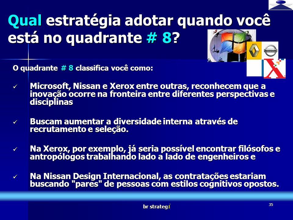 br strateg i 35 O quadrante # 8 classifica você como: Microsoft, Nissan e Xerox entre outras, reconhecem que a inovação ocorre na fronteira entre dife