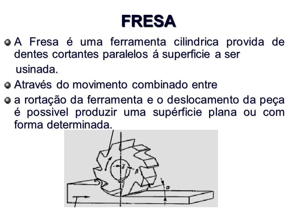 FRESA A Fresa é uma ferramenta cilindrica provida de dentes cortantes paralelos á superficie a ser usinada.