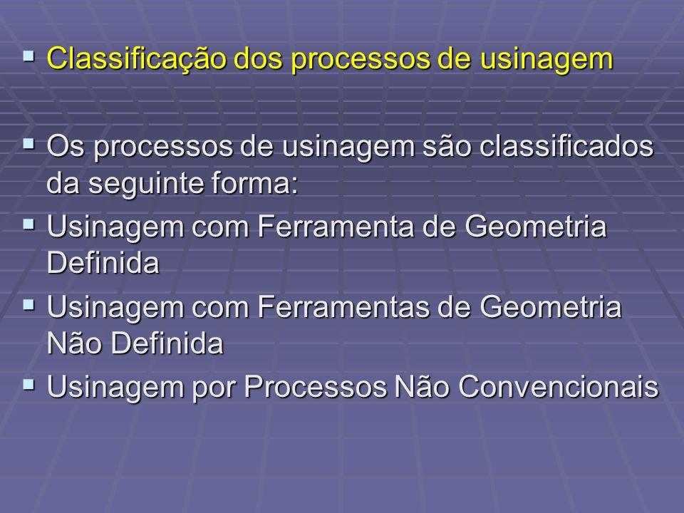 Classificação dos processos de usinagem Classificação dos processos de usinagem Os processos de usinagem são classificados da seguinte forma: Os proce