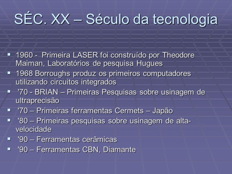 SÉC. XX – Século da tecnologia 1960 - Primeira LASER foi construído por Theodore Maiman, Laboratórios de pesquisa Hugues 1960 - Primeira LASER foi con
