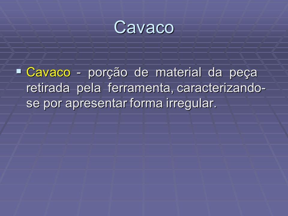Cavaco Cavaco - porção de material da peça retirada pela ferramenta, caracterizando- se por apresentar forma irregular. Cavaco - porção de material da