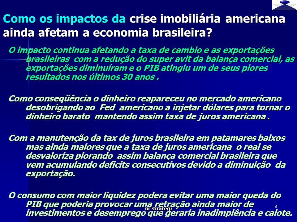 br strateg i 3 O impacto continua afetando a taxa de cambio e as exportações brasileiras com a redução do super avit da balança comercial, as exportaç