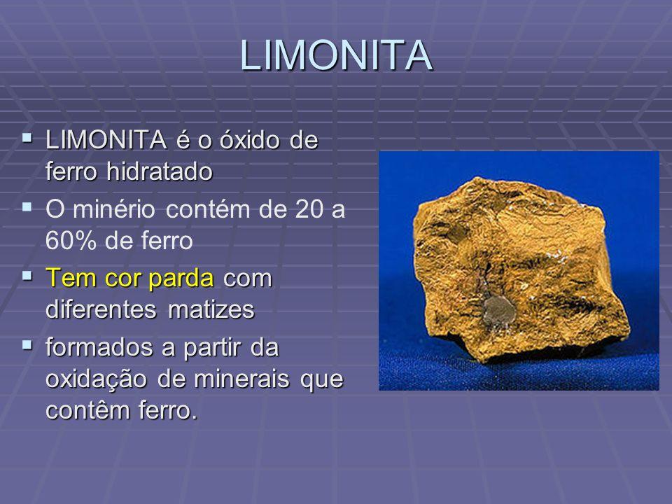 SIDERITA SIDERITA é a combinação do ácido carbônico com o ferro SIDERITA é a combinação do ácido carbônico com o ferro O conteúdo de ferro neste mineral oscila, na prática entre 30 e 42%.
