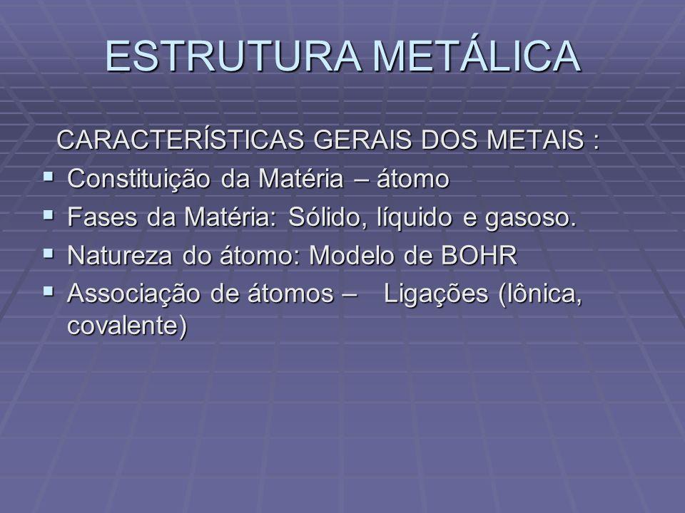 Ocorrência dos metais Densidade: Peso por unidade de volume – g/cm 3 Densidade: Peso por unidade de volume – g/cm 3 Propriedades térmicas: Coeficiente linear de dilatação térmica – cm/cm/ºC.
