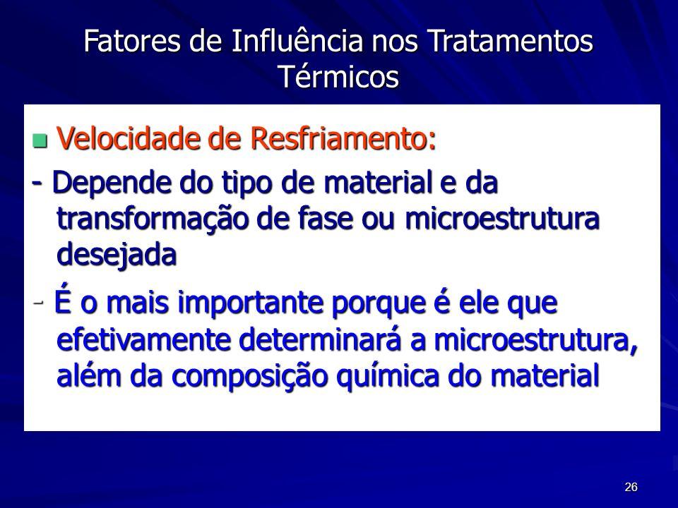26 Fatores de Influência nos Tratamentos Térmicos n Velocidade de Resfriamento: - Depende do tipo de material e da transformação de fase ou microestru