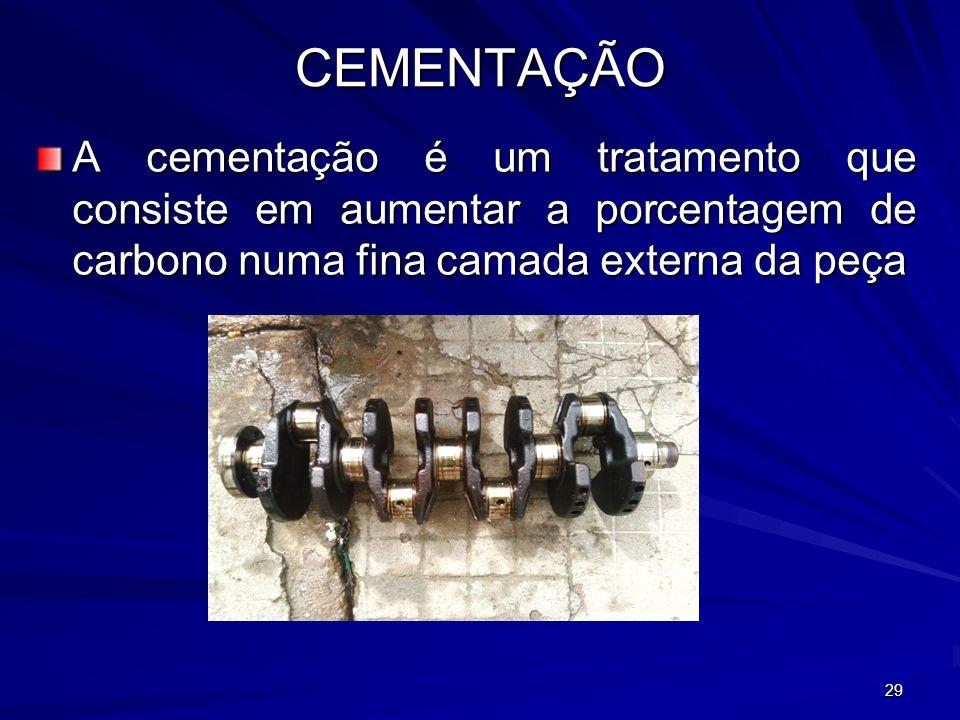 29 CEMENTAÇÃO A cementação é um tratamento que consiste em aumentar a porcentagem de carbono numa fina camada externa da peça