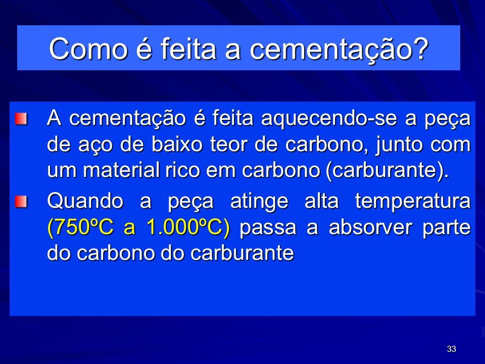 33 Como é feita a cementação? A cementação é feita aquecendo-se a peça de aço de baixo teor de carbono, junto com um material rico em carbono (carbura