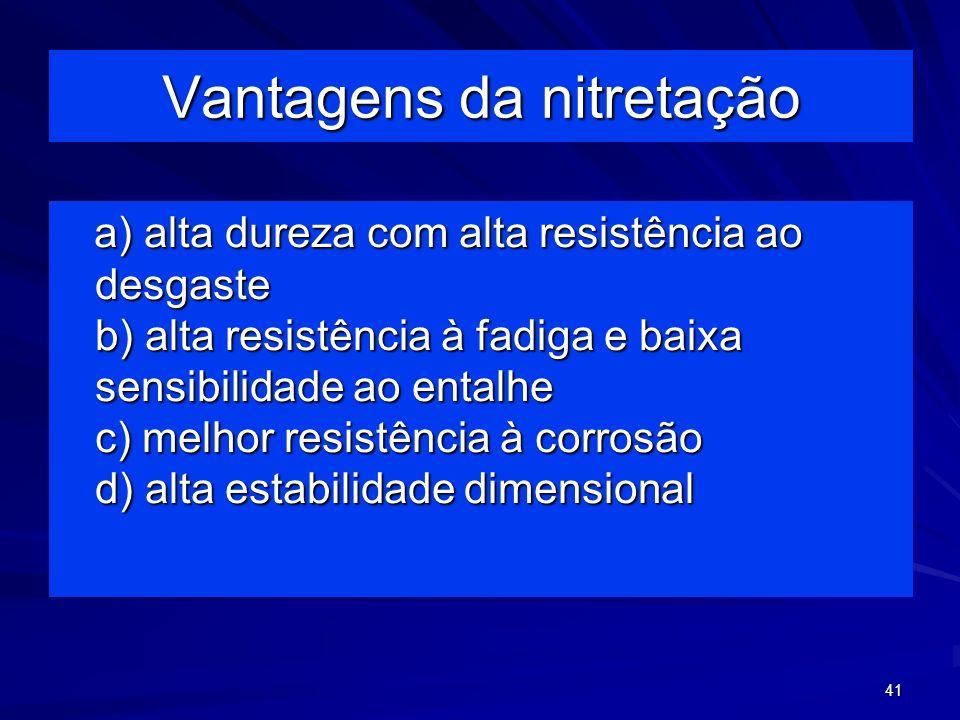 41 Vantagens da nitretação a) alta dureza com alta resistência ao desgaste b) alta resistência à fadiga e baixa sensibilidade ao entalhe c) melhor res