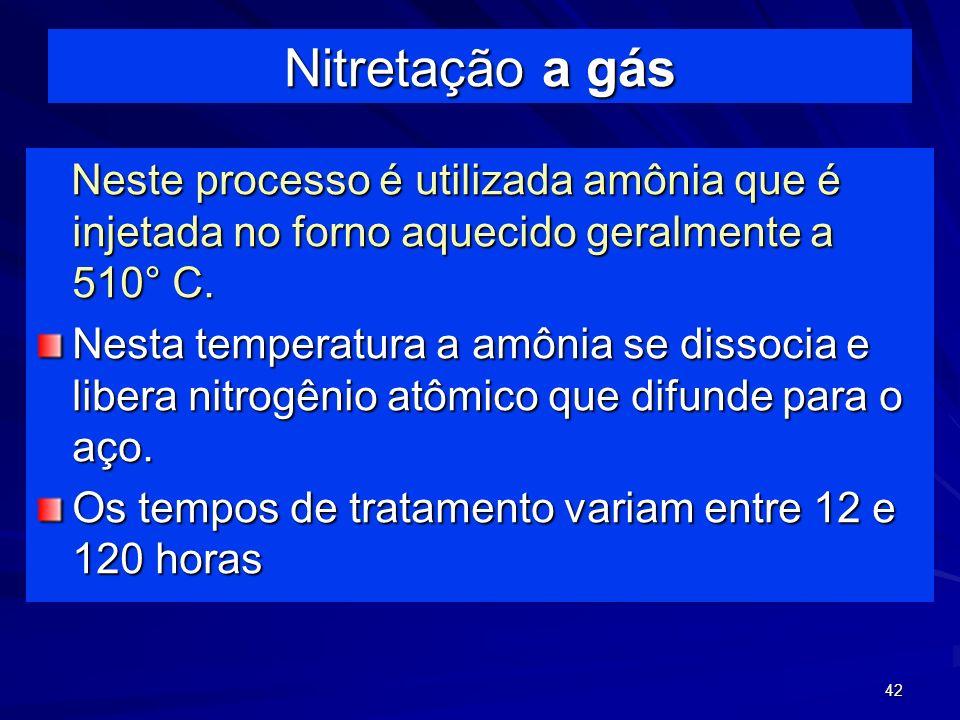 42 Nitretação a gás Neste processo é utilizada amônia que é injetada no forno aquecido geralmente a 510° C. Neste processo é utilizada amônia que é in