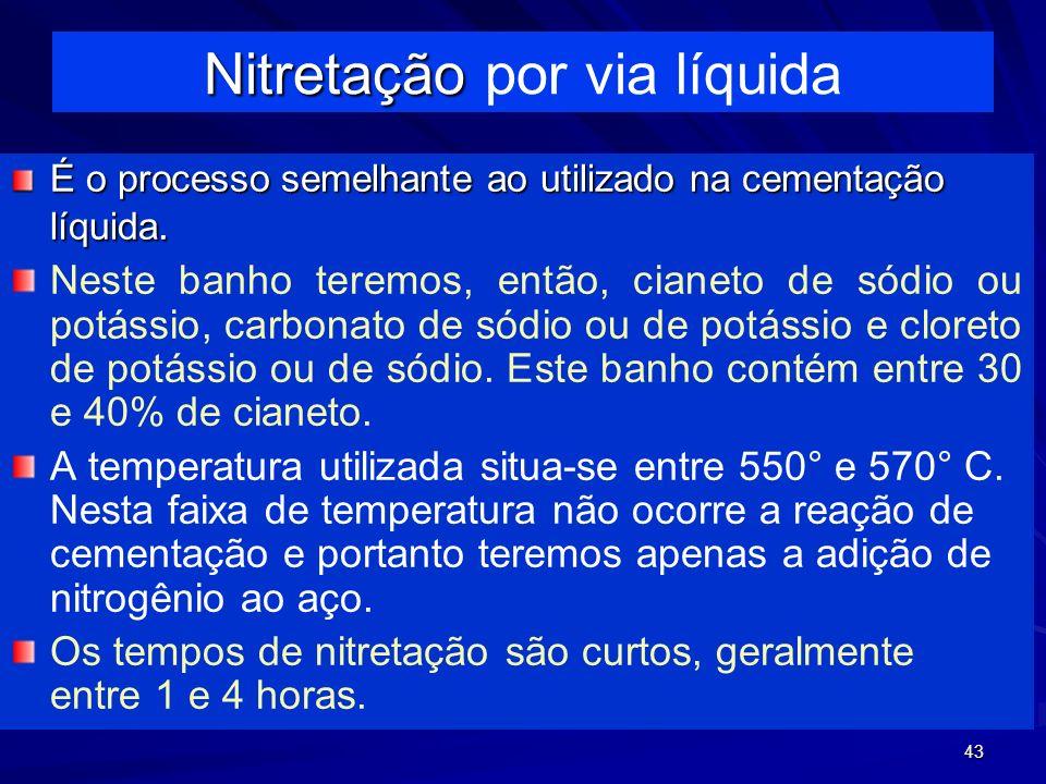43 É o processo semelhante ao utilizado na cementação líquida. Neste banho teremos, então, cianeto de sódio ou potássio, carbonato de sódio ou de potá