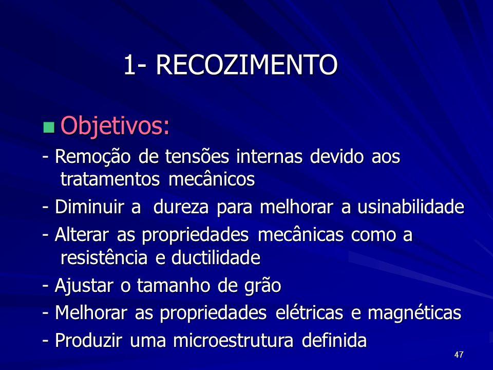 47 1- RECOZIMENTO n Objetivos: - Remoção de tensões internas devido aos tratamentos mecânicos - Diminuir a dureza para melhorar a usinabilidade - Alte