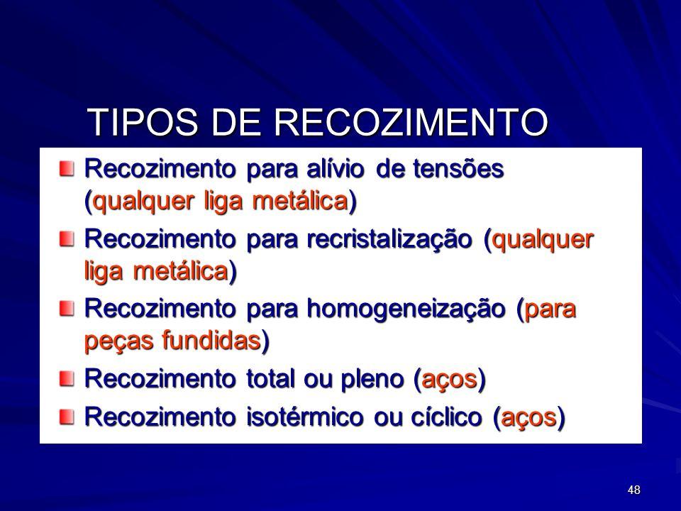 48 TIPOS DE RECOZIMENTO Recozimento para alívio de tensões (qualquer liga metálica) Recozimento para recristalização (qualquer liga metálica) Recozime
